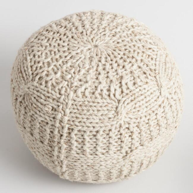 Taupe Heather Sweater Pouf  via World Market