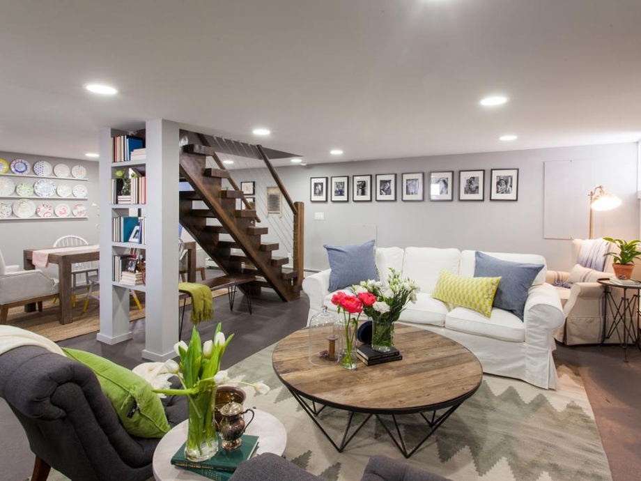 Converted basement with places to seat, read, and snack.