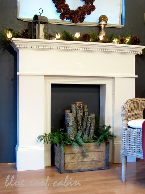 Faux fireplace with pine boards