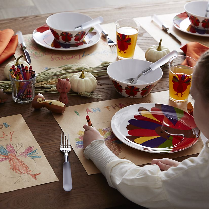 Cheerful Turkey Dinnereware Melamine via Crate and Barrel.