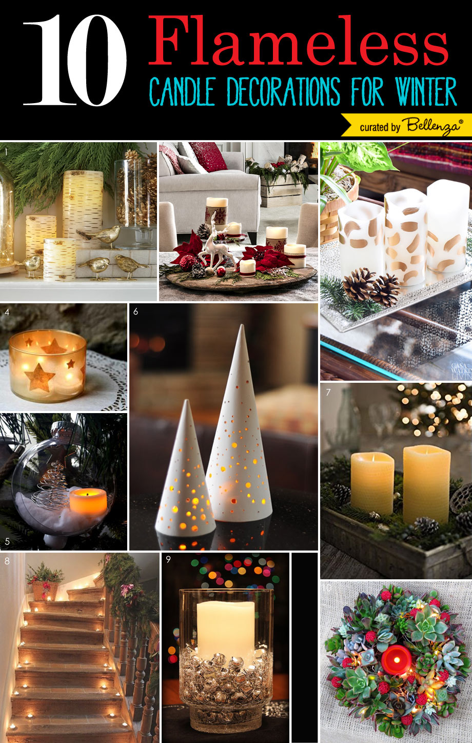 Christmas Decorations using Winter holiday and flameless-candles