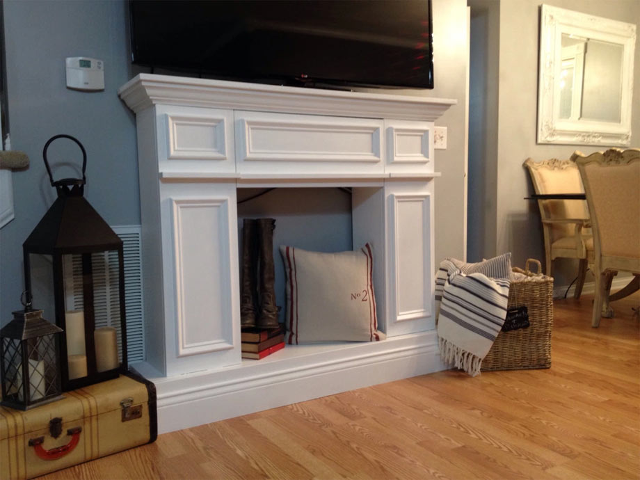 All-white fireplace