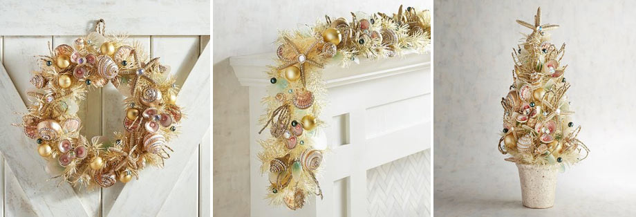 A holiday wreath, garland, and table centerpiece (via Pier1 Imports) made with sparkly gold accents intertwining with shells