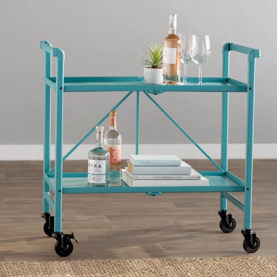 Teal bar cart via Birch Lane