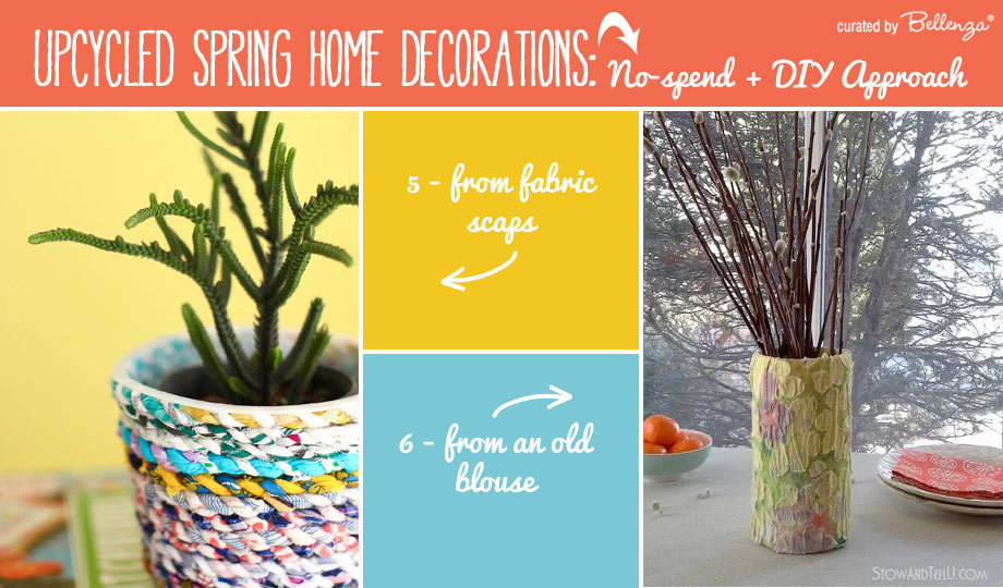 Spring decor from old blouses turned into vases and planters.