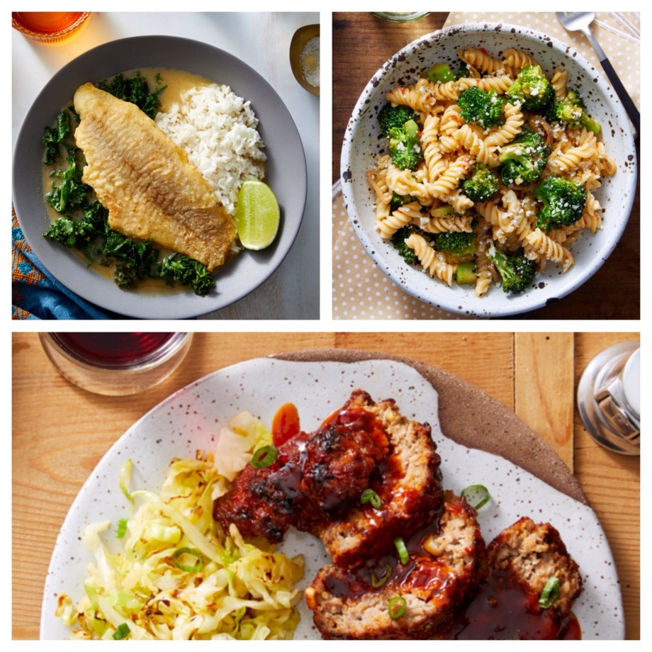 Blue Apron sample dishes from catfish to meatloaf.