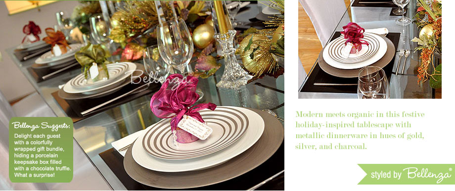 Modern metallic dinnerware for Christmas holiday tablescape.
