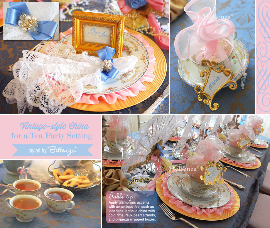 Vintage-inspired theme wit floral china dinnerware.