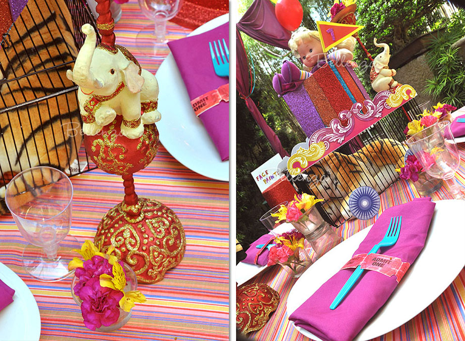 carnival themed place settings for a grownups circus theme