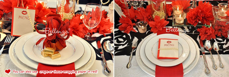 romantic red and black place settings - great for anniversaries and adult bitrhdays