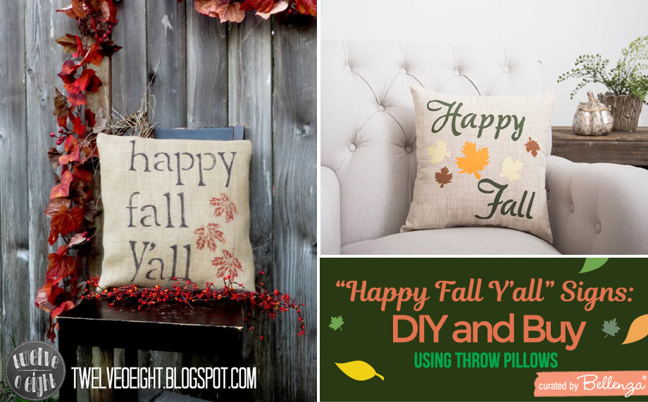 Happy-fall-signs on throw pillows