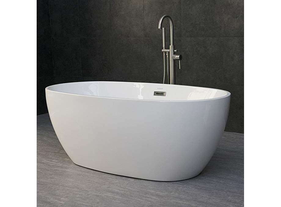 "WOODBRIDGE 59"" Modern Oval Acrylic Freestanding Bathtub"