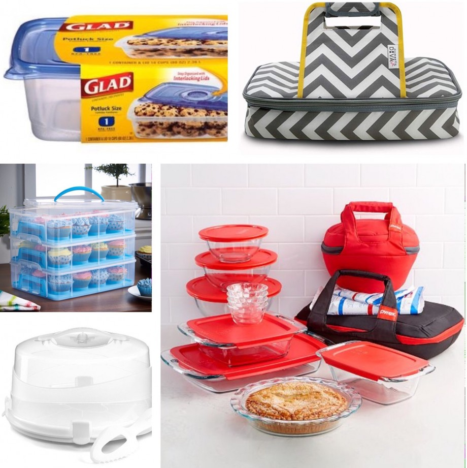 Food containers to store and transport baked goods to a potluck party.