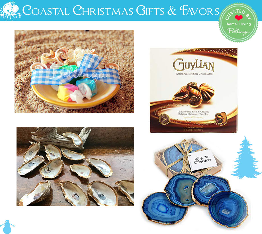 Coastal Christmas favors and gifts from seashell trinket dishes to shell chocolates to blue agate coasters.
