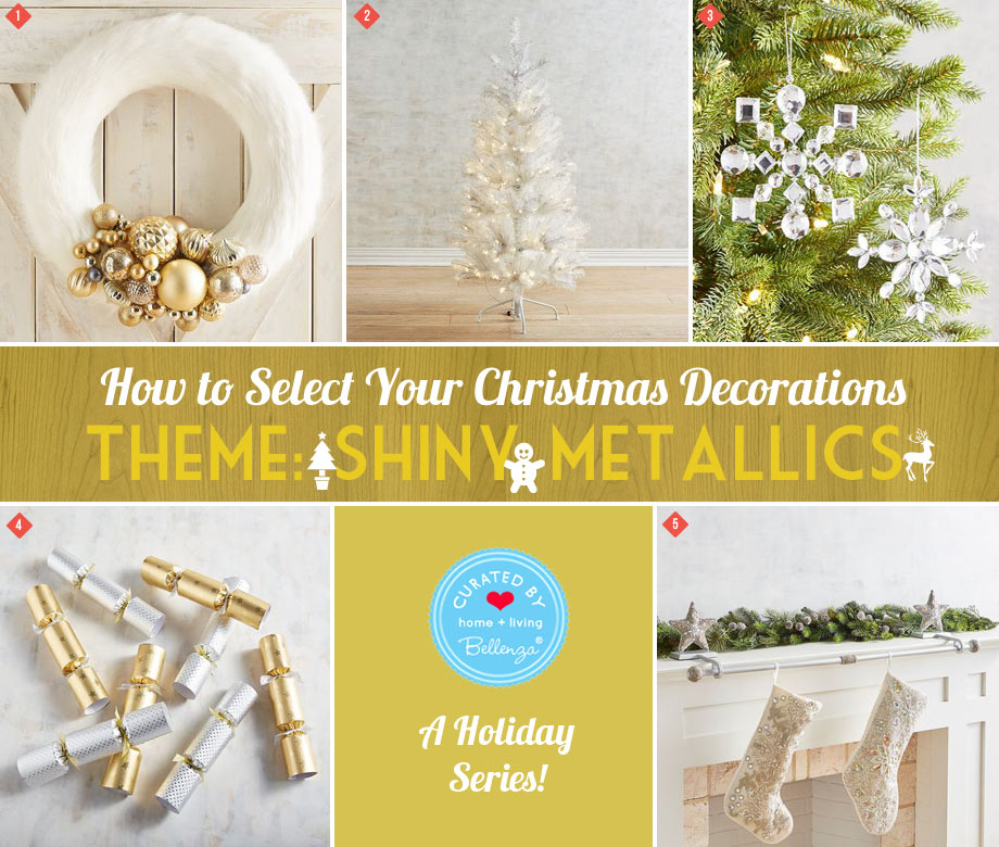 Metallics in Gold and Silver as Christmas Decor for Ornaments, Wreath, and Stockings.