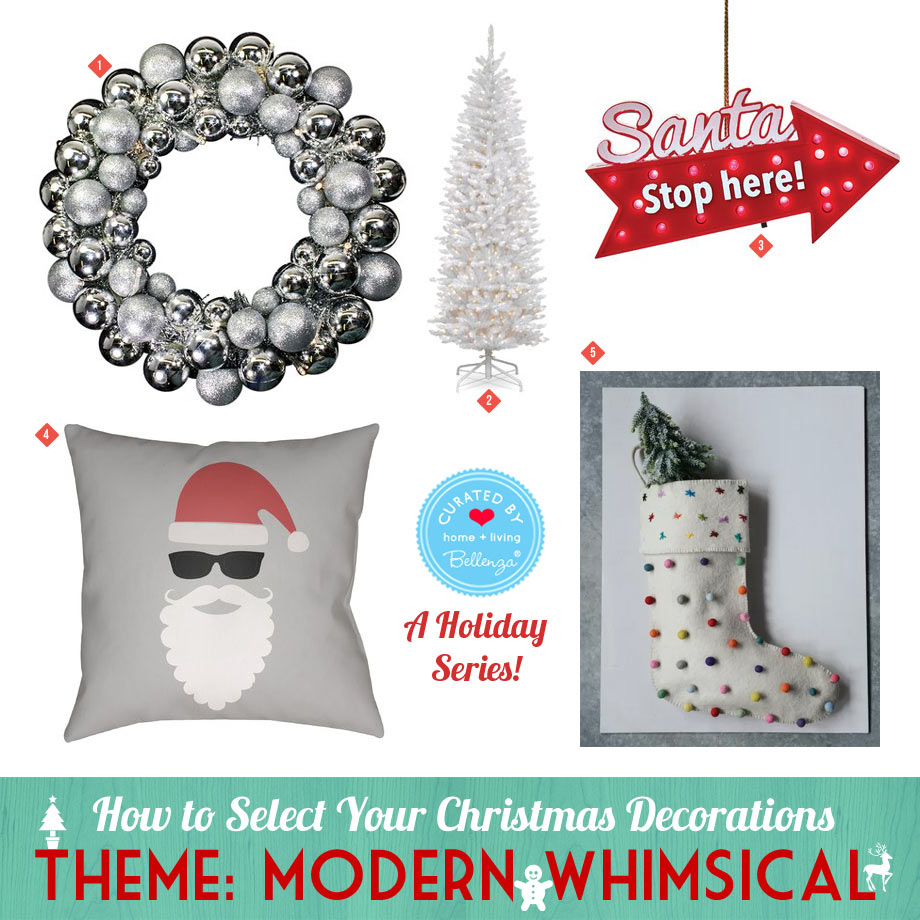 Modern Whimsical Santa Christmas in Metallics and White.