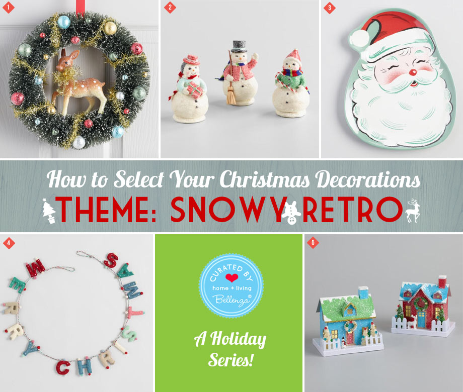 Snowy Retro Christmas with a Reindeer Wreath, Santa Plate, and Snow Men ornaments.