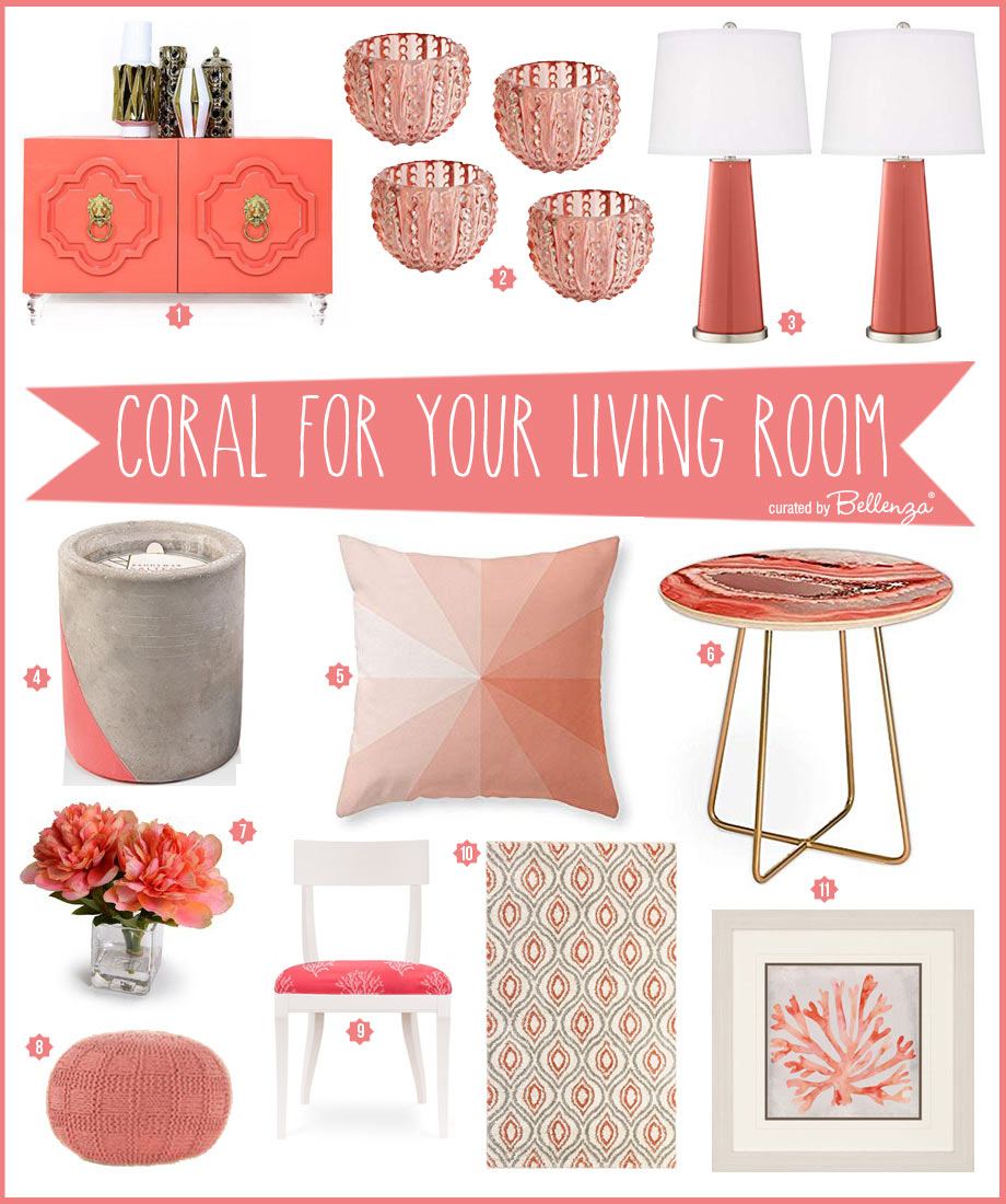 Living coral decorative accents and furniture for your living room