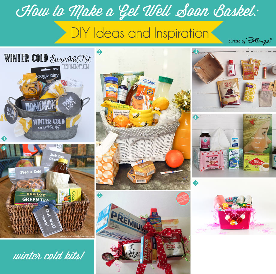 Get well soon basket ideas and fillings for a common cold or flu.