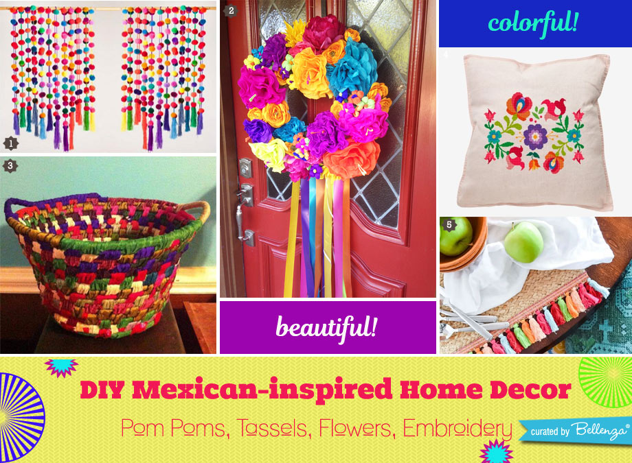 Mexican Accent Pieces with Pom Poms, Tassels, Flowers, Embroidery