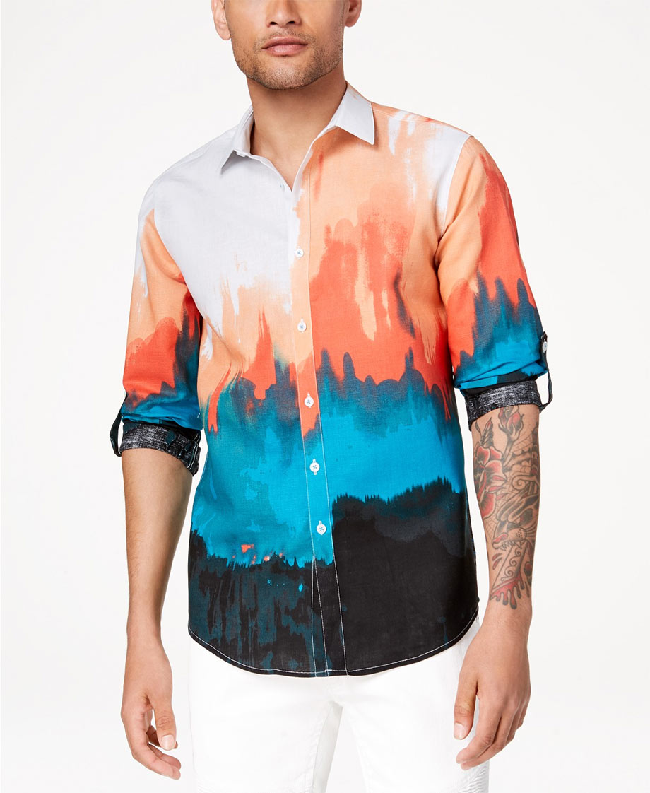 Tie-dye shirt with teal, peach, black via Macy;s