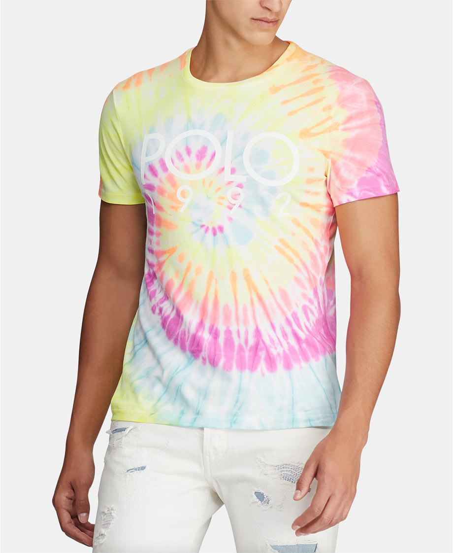 Men's tie-dye polo shirt in pastel burts