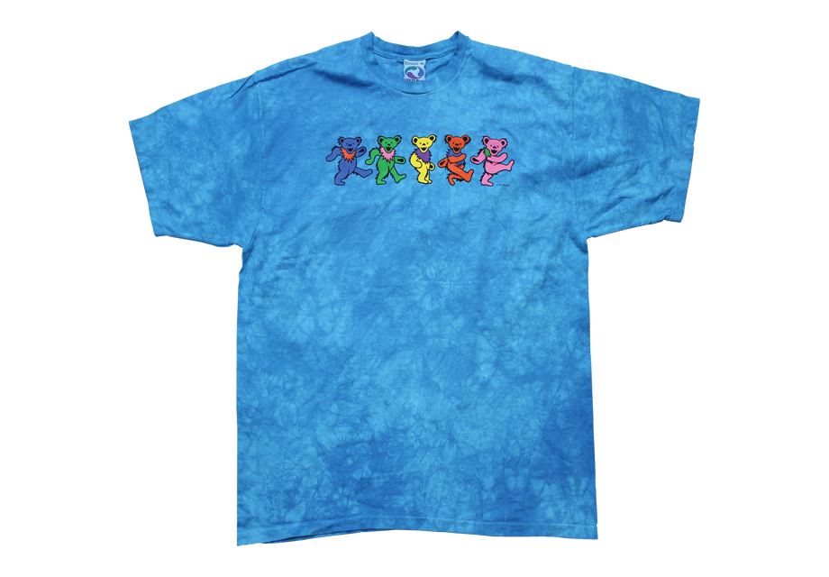 Dancing bears blue tie dye shirt via Rakuten