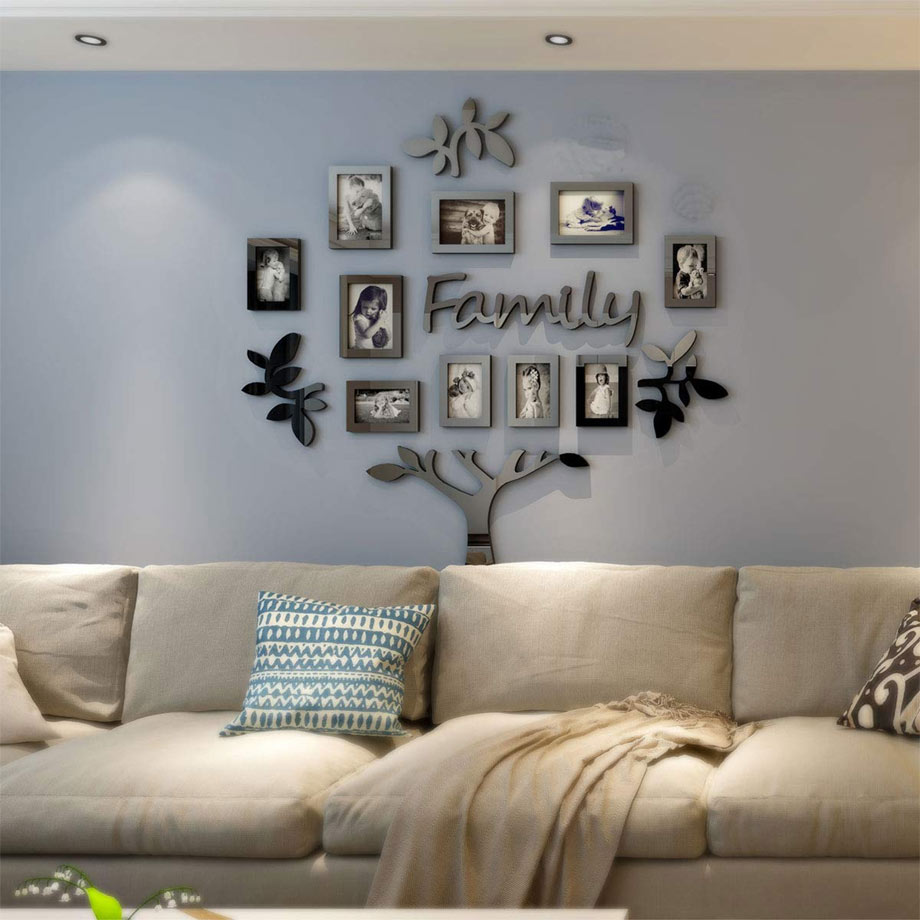 Family tree collage example living room