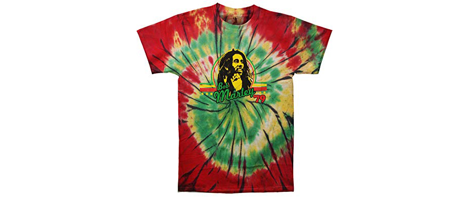 Bob Marley tie-dye red and green and yellow shirt