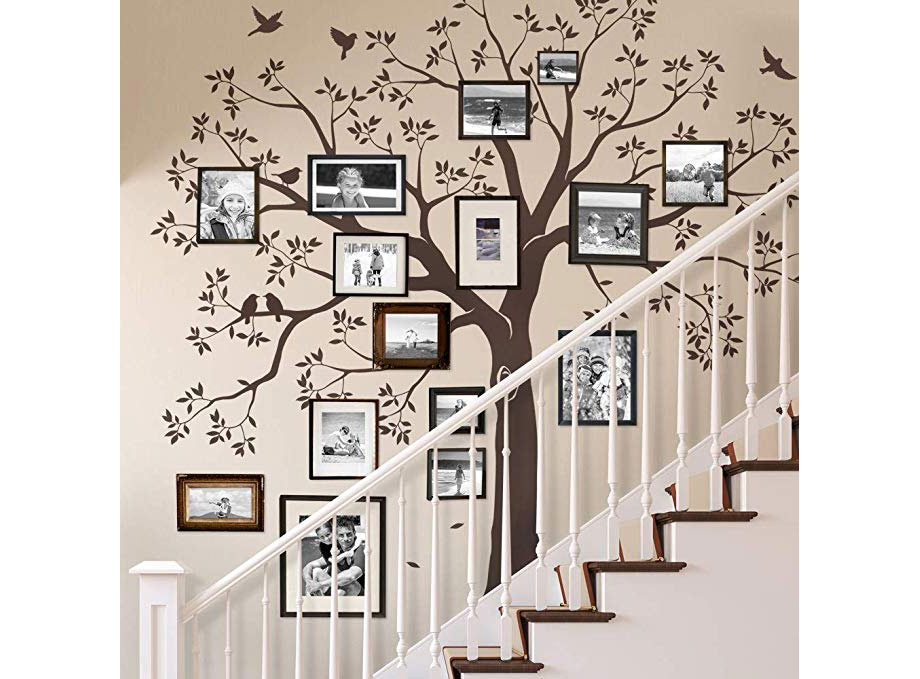 Family tree by staircase