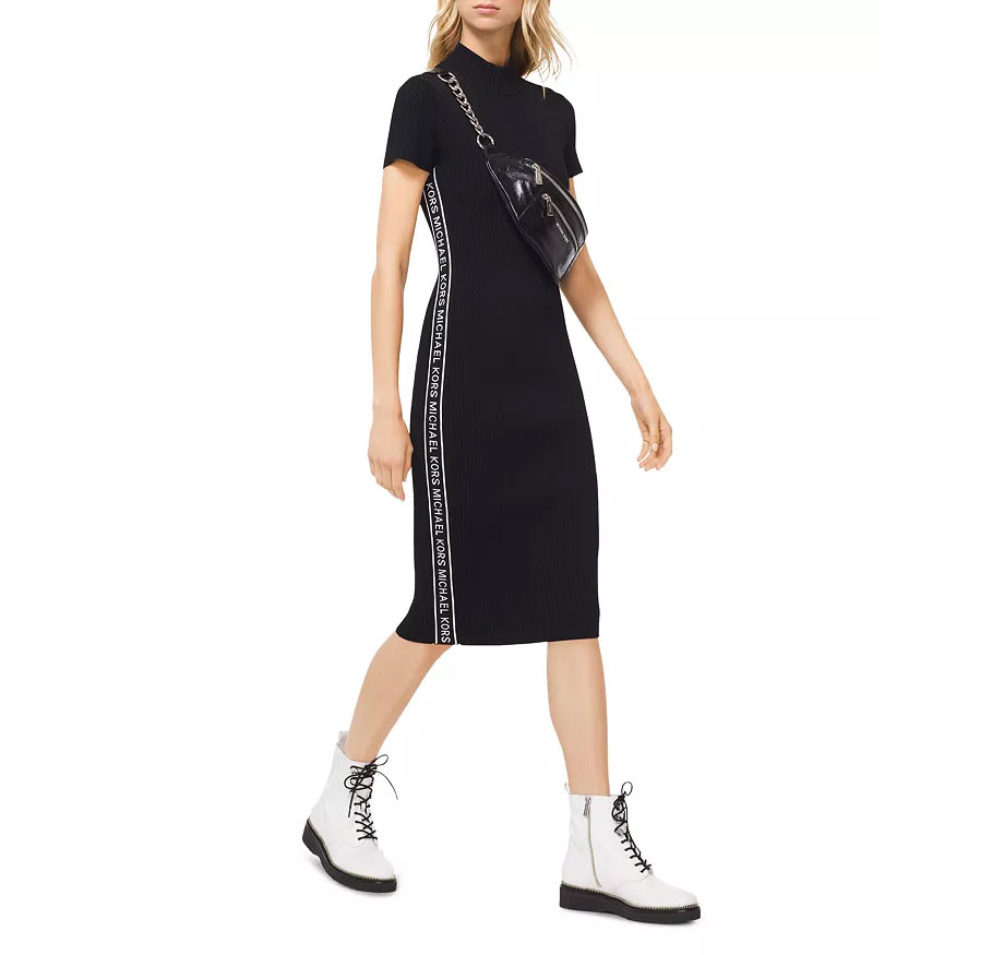Logo Tape Ribbed Knit Dress