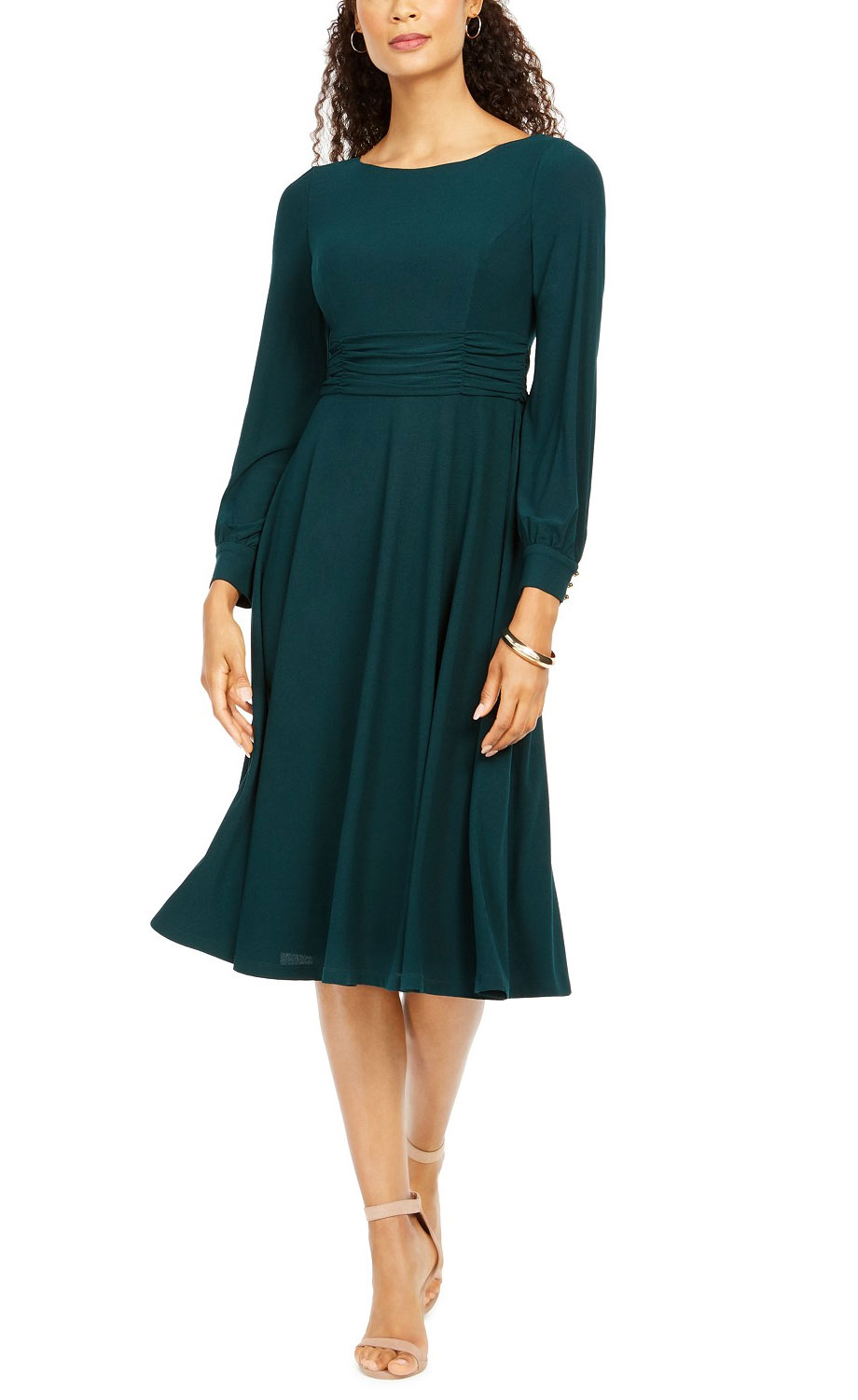 Jessica Howard Long-Sleeve Pleated Midi Dress