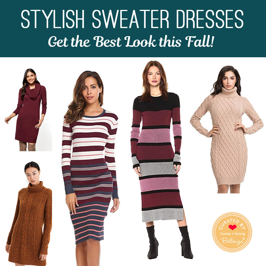 autumn sweater dresses from pullover to cowl