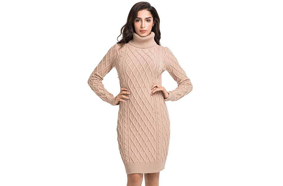 Turtleneck Cable Knit Long Sleeve Sweater Dress