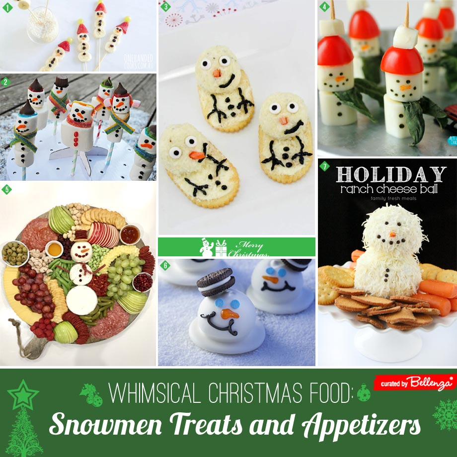 Snowman themed appetizers
