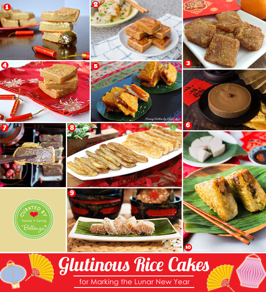 Glutinous Rice Cake Recipes with Ingredients like Coconut, Red Bean, Cassava...