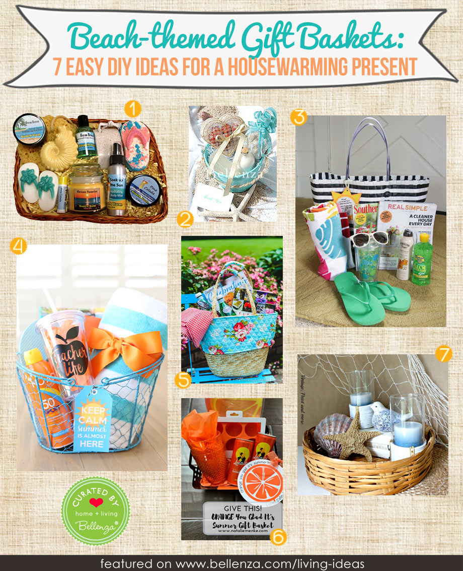 Beach housewarming themed gift basket you can make at home