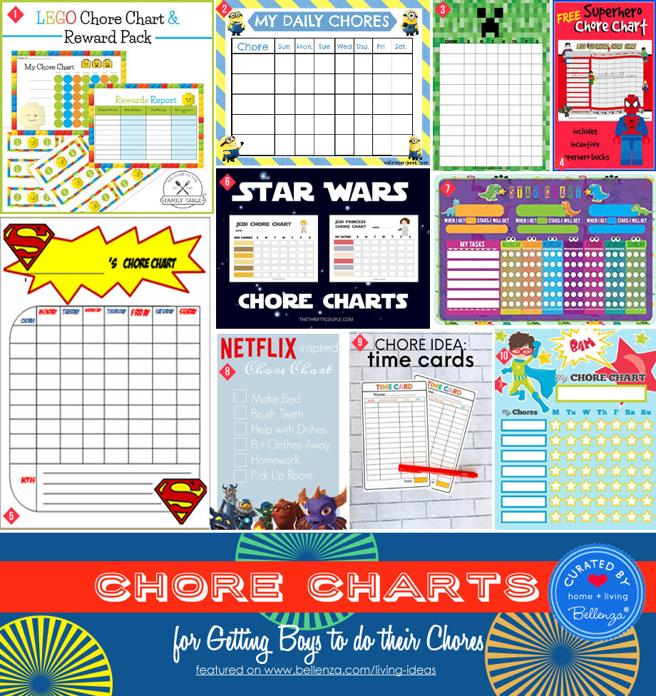 Printable chore charts by themes for boys