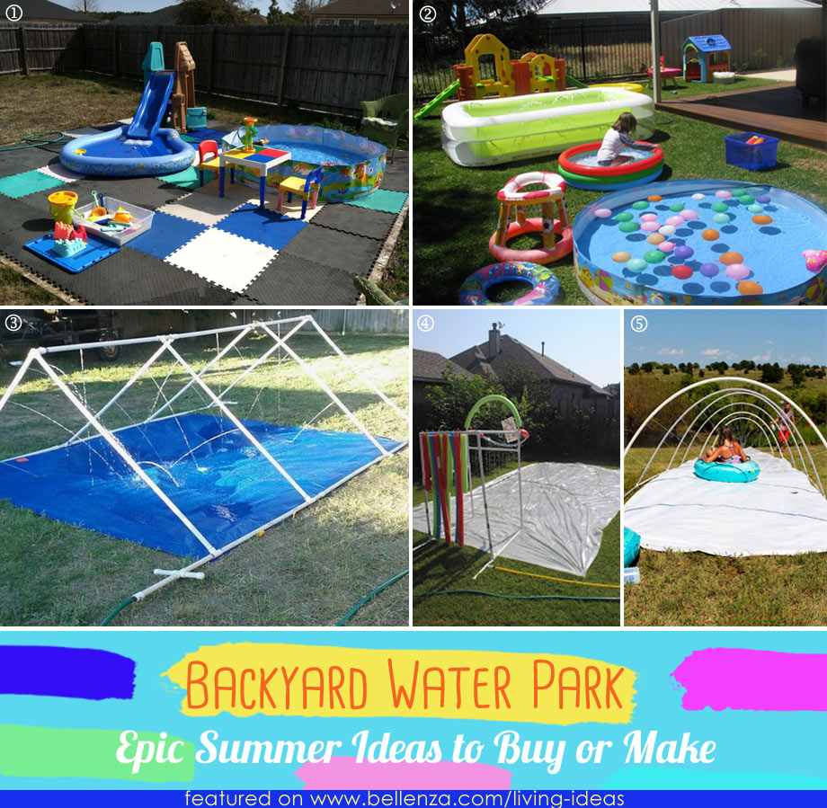 Homemade backyard waterpark pools to slides
