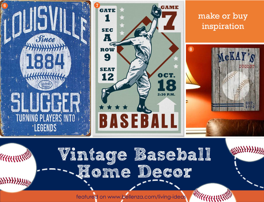 Vintage Baseball Signs for Home Decor