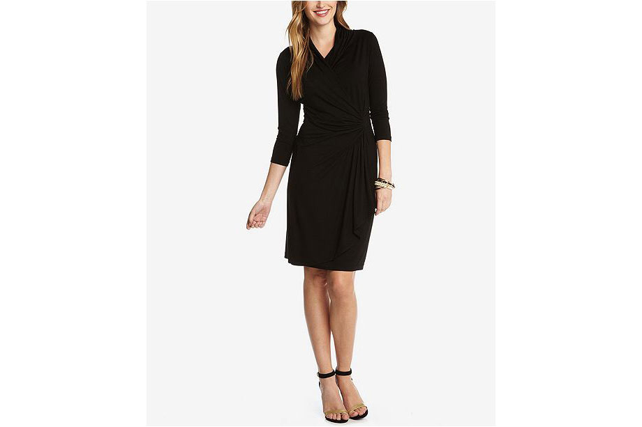 Faux wrap black dress