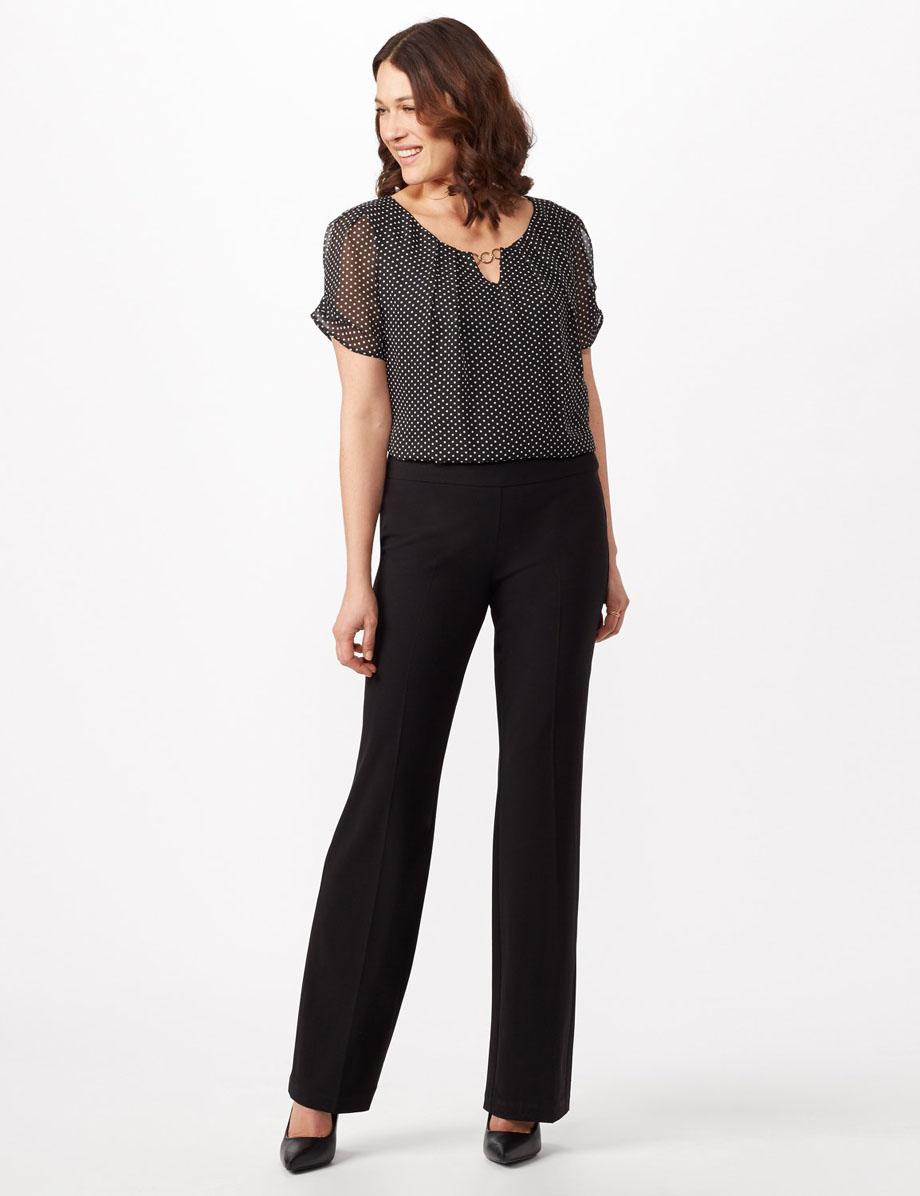 Elastic slender black pants