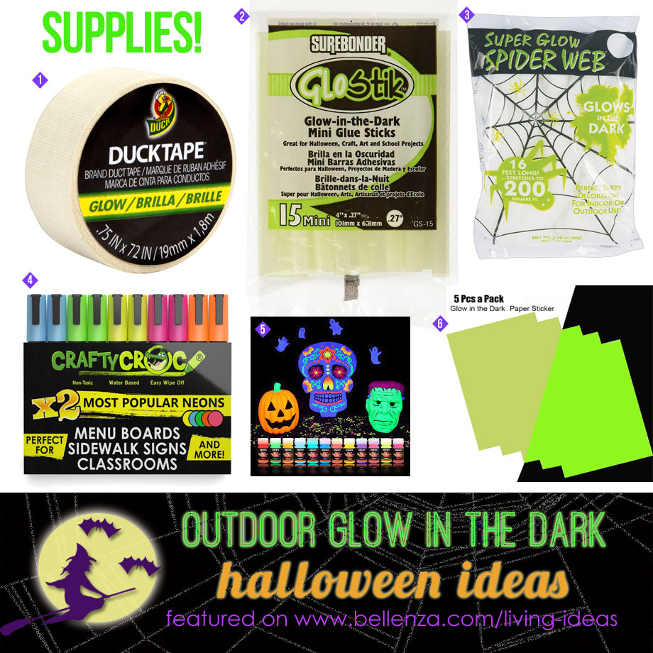 DIY Glow-in-the-Dark Supplies for Halloween Outdoor Decorations from Tape to Paper