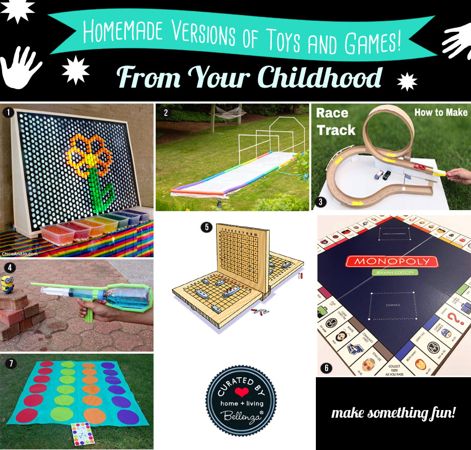 Homemade versions of our favorite toys and games as a kid such as Slip and Slide, Battleship, and Monopoly