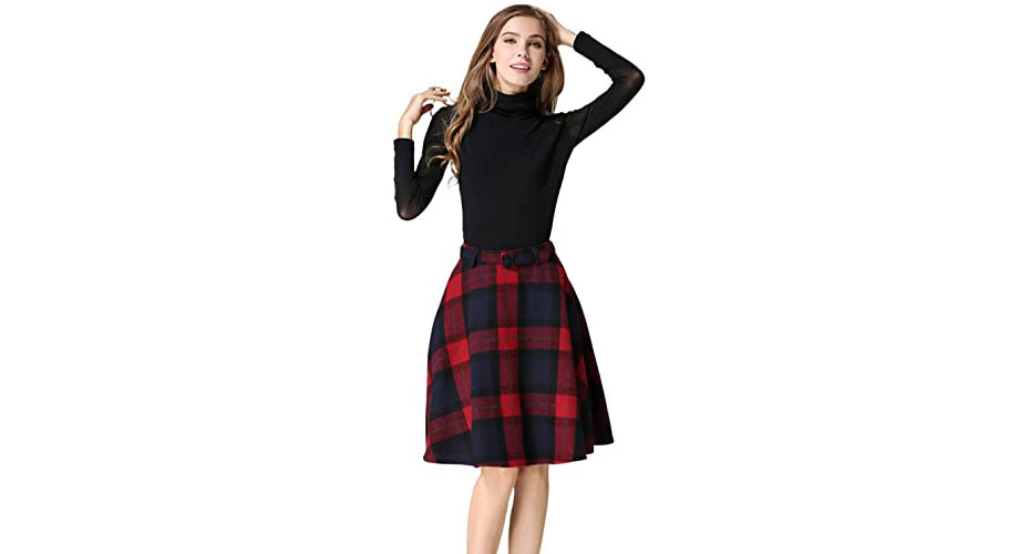 Plaid skirt with black sweater