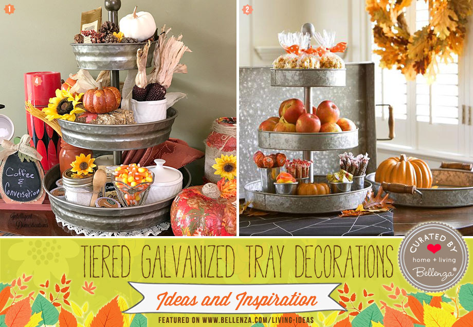 Beverages and fruits are displayed in these fall tiered trays.