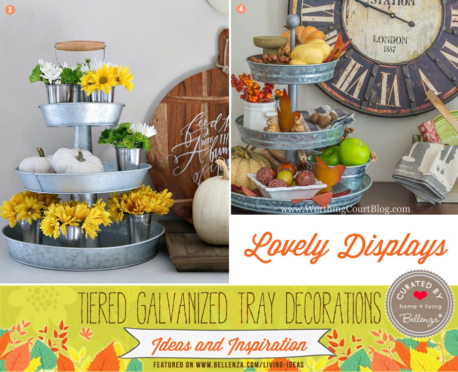 Hues of yellow and brown decorate this galvanized trays.