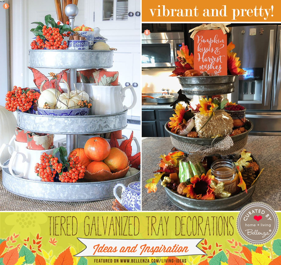 Sunflowers and mini pumpkins decorate a fall themed galvanized tiered stand