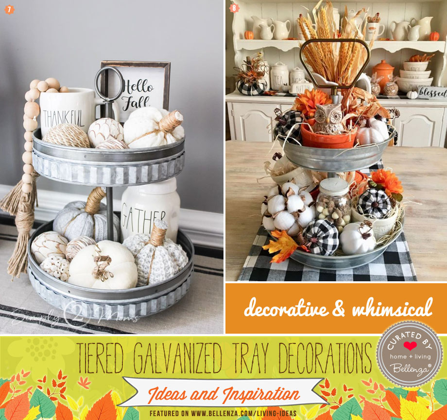 Vibrant fall tiered trays with rustic elements from pumpkins to checkered fabric.