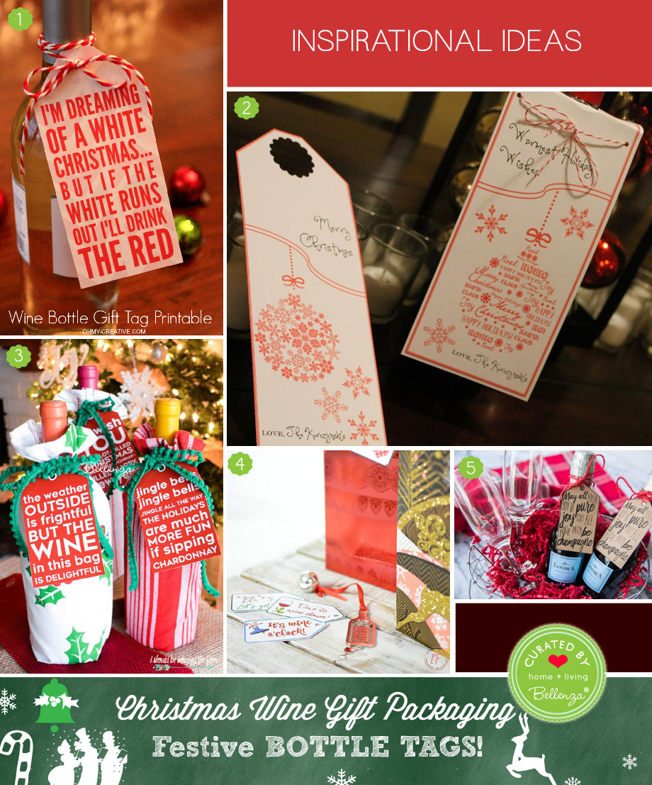 Tie-on Wine Bottle Tags for Christmas